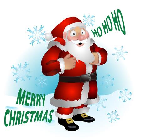 ho: Santa clause. A vector illustration of  Santa clause and snowflakes Illustration