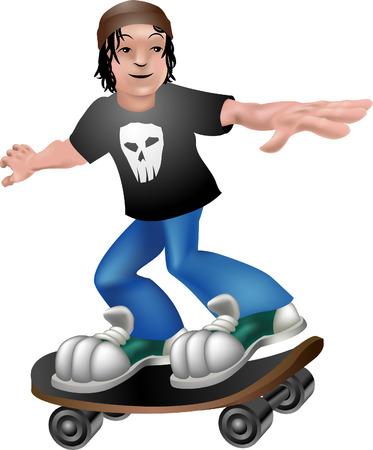 skater. A vector illustration of a cartoon boy skating Vector