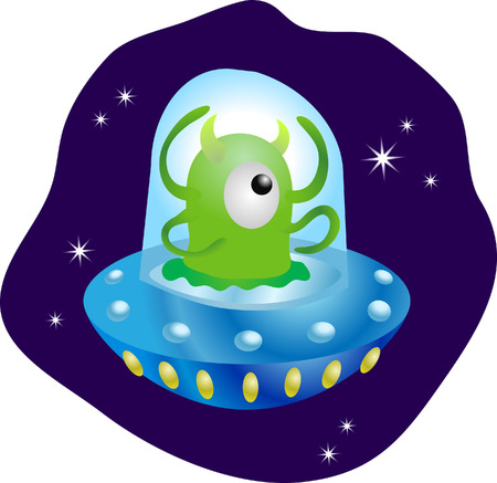Cute alien. A cute little alien in his flying saucer Vector