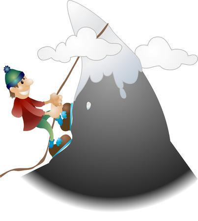 montañas caricatura: Alpinista ilustración. Un ejemplo de un alpinista escalar una montaña