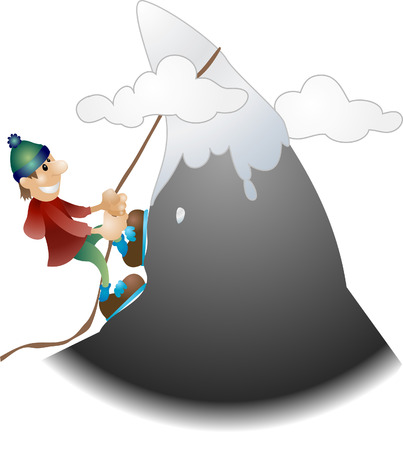 scaling: Mountaineer illustration. An illustration of a mountaineer scaling a mountain