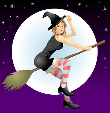 Beautiful Halloween witch. An illustration of a beautiful Halloween with riding her broomstick