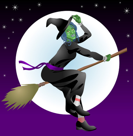 bewitched: Halloween witch. An illustration of a scary Halloween with riding her broomstick