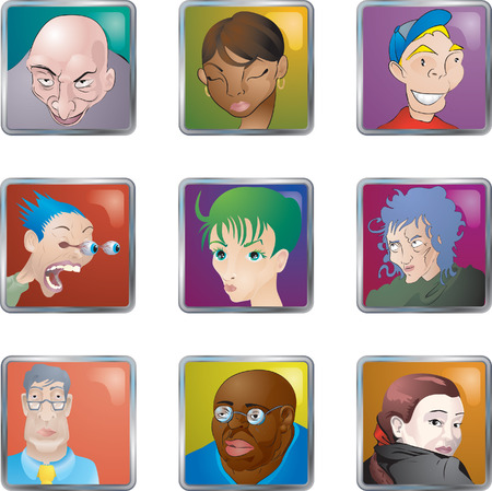People Faces Icons Avatars. Lots of illustrations of faces people avatars icons Vector