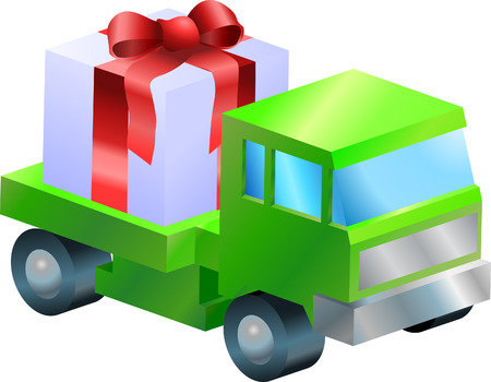 closed ribbon: gift delivery illustration. A truck or lorry carrying a nicely wrapped gift