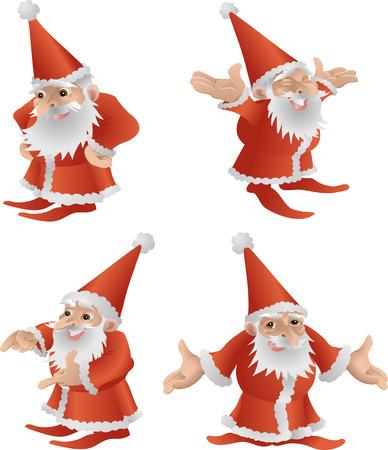 """żartować: Ojciec Christmas ilustracji.  IlustracjÄ™ fajne cute narodzenia ojca w czterech różnych uÅ'ożeÅ"""""""