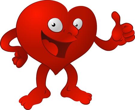 karikatuur: Hart man. Een illustratie van een hart karakter waardoor de duimen omhoog Stock Illustratie