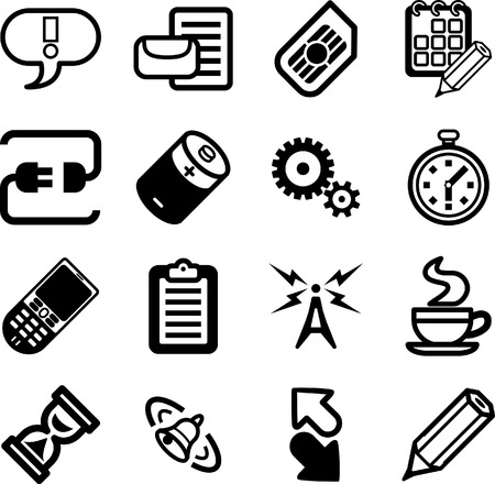 sim: Mobile Phone Applications GUI Icon Series Set. A vector Mobile Phone Applications GUI Icon Series Set