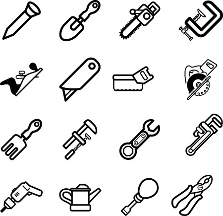 Tool icon series set Icons. A vector series set of tool icons Vector