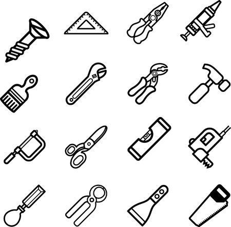 tool icon: Strumento icona della serie. Un vettore serie di icone strumento  Vettoriali