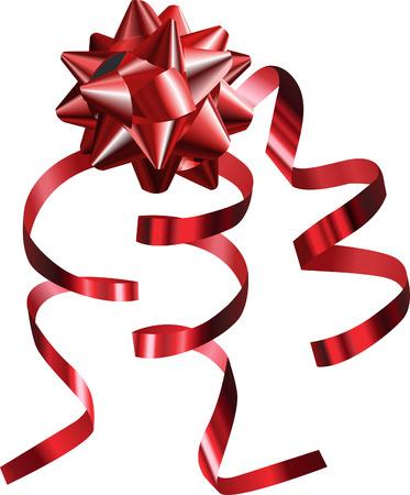 rosette: Red de Bow. Una ilustraci�n vectorial de un rojo muy brillante arco con cintas, mallas utilizadas no Vectores