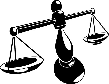 scale justice: Scales. Monochrome vector illustration of stylised scales Illustration