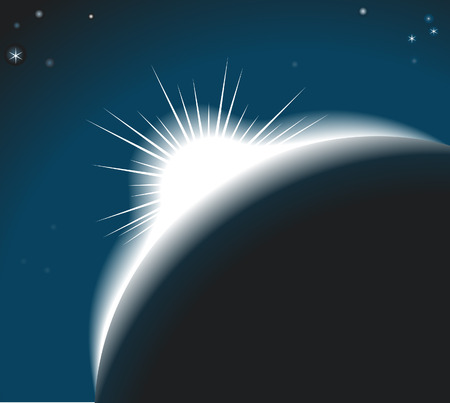 renewal: Sunrise. The sun rising over a planet or out on an eclipse Illustration