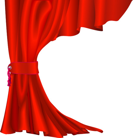 Illustration of  red velvet curtain with tassel like those in theatres or cinemas Illustration