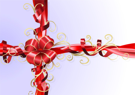 An Illustration of an abstract stylised gift ribbon and bow background. Vector