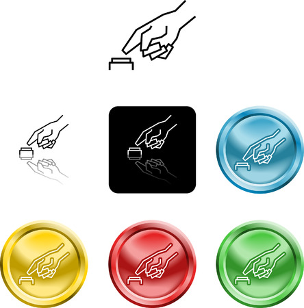 versions: Several versions of an icon symbol of a stylised hand pressing a button