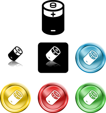 Several versions of an icon symbol of a stylised battery Stock Vector - 2234787
