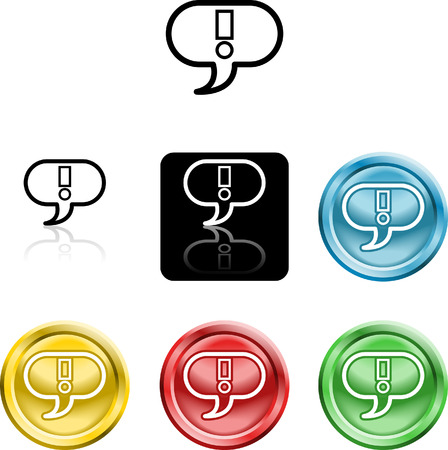 speach: Several versions of an icon symbol of a stylised exclamtion mark in a speach bubble Illustration