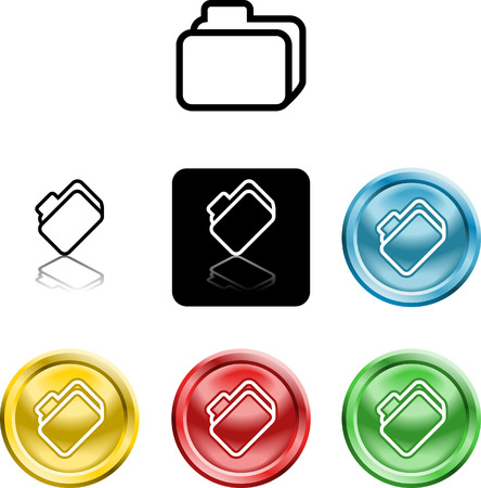 Several versions of an icon symbol of a stylised file folder Vector