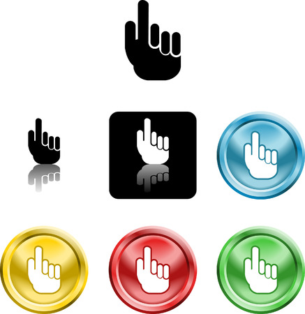 pointing finger: Several versions of an icon symbol of a stylised hand pointing finger upwards