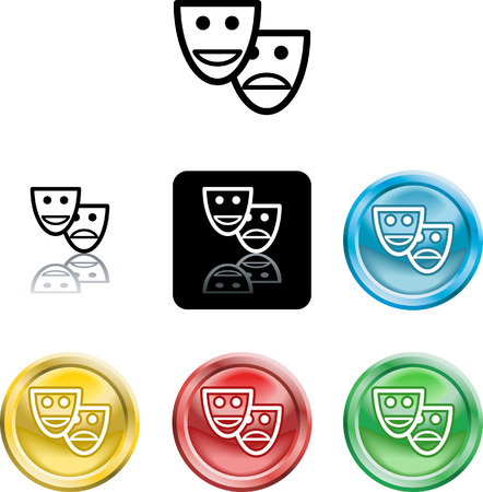 Several versions of an icon symbol of a stylised set of masks Vector