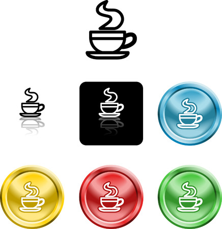versions: Several versions of an icon symbol of a stylised coffee cup Illustration