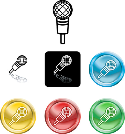 versions: Several versions of an icon symbol of a stylised microphone