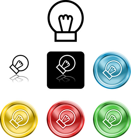 Several versions of an icon symbol of a stylised lightbulb Vector