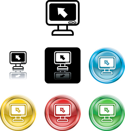 Several versions of an icon symbol of a stylised computer monitor and pointer Vector