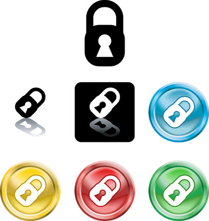 Several versions of an icon symbol of a stylised padlock Stock Vector - 2241735