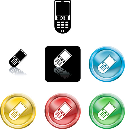 Several versions of an icon symbol of a stylised mobile cell phone Vector