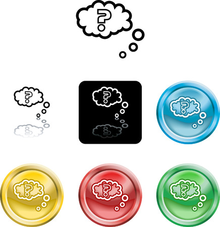 Several versions of an icon symbol of a stylised question mark in thought bubble Vector