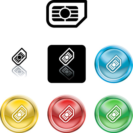 Several versions of an icon symbol of a stylised mobile phone sim card Illustration