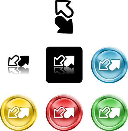 Several versions of an icon symbol of stylised arrows symbolising send receive or upload download Vector
