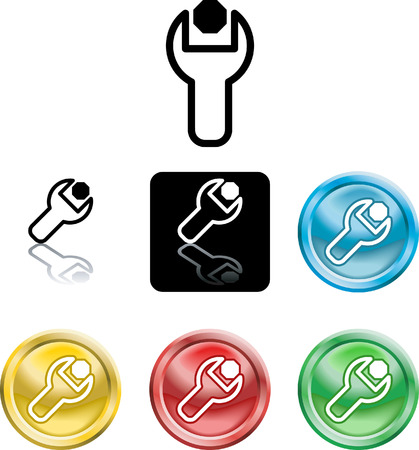 loosening: Several versions of an icon symbol of a stylised spanner turning a nut or bolt Illustration
