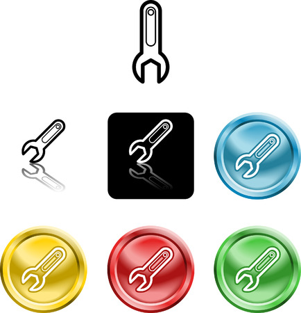 versions: Several versions of an icon symbol of a stylised spanner
