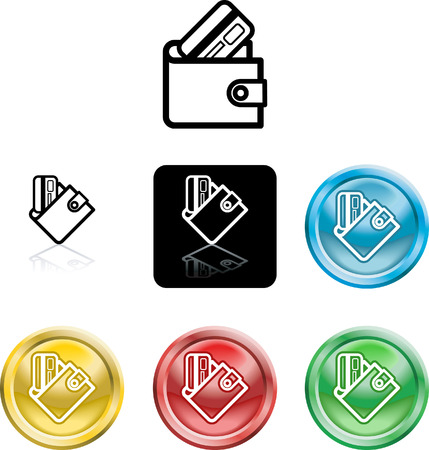 Several versions of an icon symbol of a stylised wallet and credit card Vector