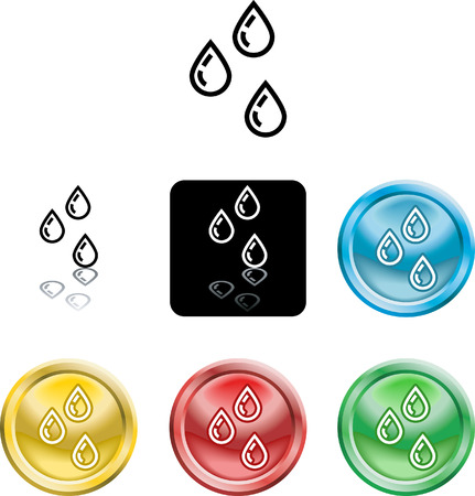 versions: Several versions of an icon symbol of a stylised water droplets