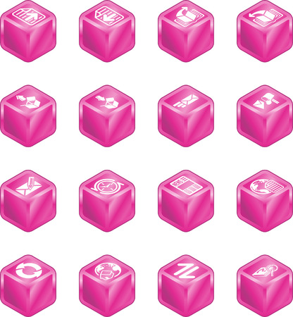 A internet browser and email cube icon set series Vector