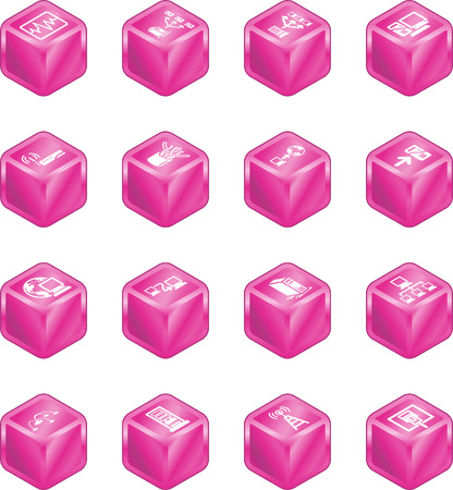 A series of cube icons relating to computer networks. Vector