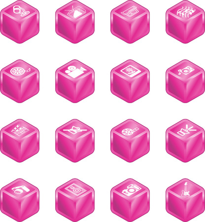 A series set of cube icons relating to vaus types of media. Stock Vector - 2397597