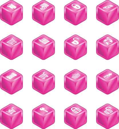 Security and e-commerce cube icon set series. Vector