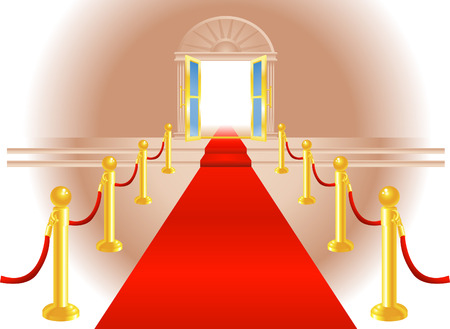 A red carpet leading up to a lavish door to an exclusive venue Vector