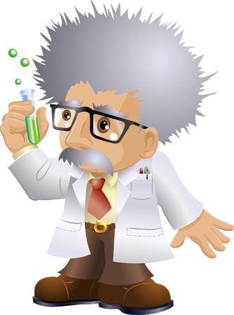 science cartoon: Illustration of a kooky professor or scientist holding a test-tube Editorial