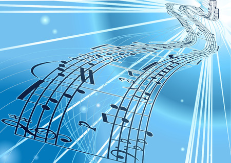 note pc: An abstract vector music notes background with flowing a ribbon of a musical notes score Illustration