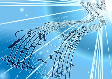 viertelnote: Eine abstrakte Vektor Musik Noten Hintergrund flie�t ein Band mit einer musikalischen Notizen des Gastes