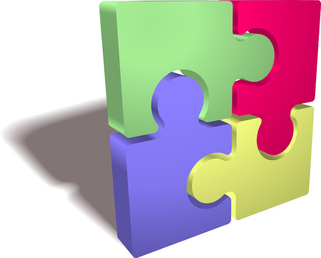 An illustration of a completed jigsaw puzzle icon Illustration