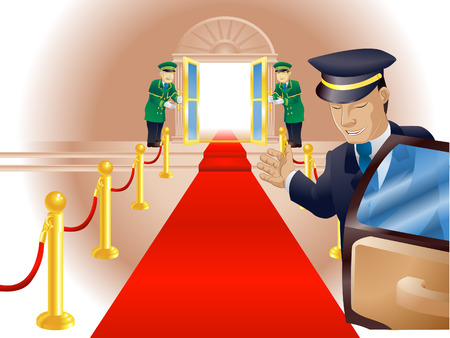 Illustration, point of view of person getting out of a limousine with chauffer and doormen beckoning him or her into a venue like a vip or celebrity