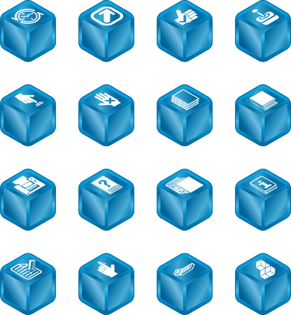 A cube icon series set for computer applications. Vector