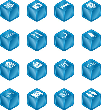 Cube icon set relating to city or location information for tourist web sites or maps etc. Vector